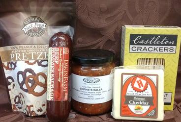 Farmstead Alehouse Cheddar, Chocolate Pretzels, Salsa, Summer Sausage, Castleton Crackers